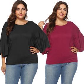 Mujeres Tallas Grandes Camiseta Elstica Solic Color Media