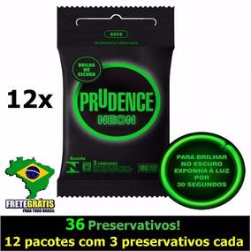Prudence Neon Preservativo Camisinha Brilha No Escuro Kit 12