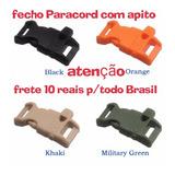 Fecho Fivela Paracord C/ Apito P/ Braceletes - Kit 4 Peças
