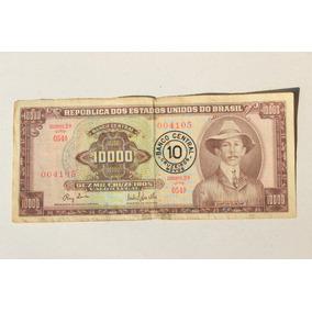 Cédula 10.000 Cruzeiros Santos Dumont 2ª Estampa Com Carimbo
