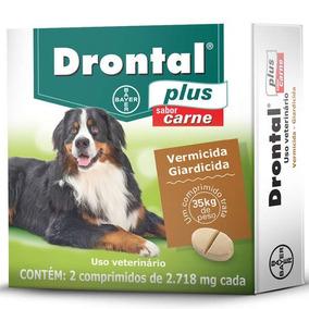 Drontal Plus Sabor Carne Cães 35 Kg - 2 Comprimidos