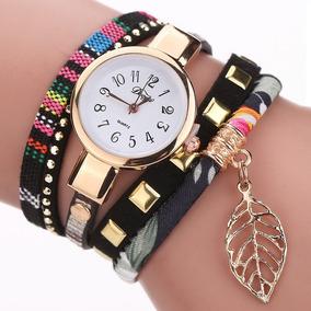 Reloj Brazalete Dije Hoja Oro Pulsera Moda Dama Mujer B114