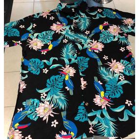 Camisa Havaiana Floral Arara Camiseta Masculina Surf Rf 01 b934a0ae7f622