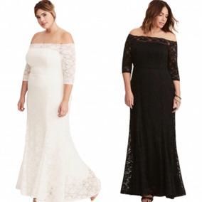 Vestido Tallas Extras Plus Fiesta Largo Negro Blanco Encaje