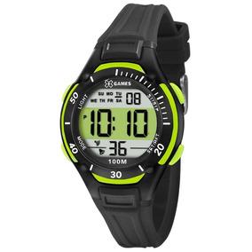 Relógio Masc. Pulso X-games Preto C Verde Xkppd017
