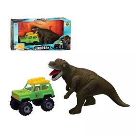 Jipe Dino Park Com Bote Dinossauro Jurassick Word Brinquedo