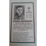 Cartão Falecimento Soldado Alemão Ww2 Sebastian Schreckenbau