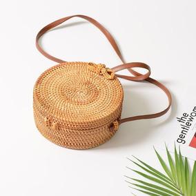 Bolsa Boho Redonda De Bambu Artesanal Bali Frete Grátis
