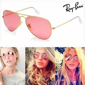73e8b46de5f48 Óculos De Sol Ray-ban Rb3025 Aviator Dourado Rosa Espelhado. R  249 99