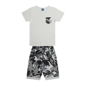 Conjunto Infantil Masculino Camiseta E Bermuda Militar