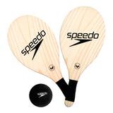 Kit 2 Raquetes De Frescobol Em Madeira Speedo Popular Racket