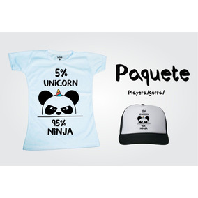 Paq.playera / Gorra Sublimada, Panda Unicornio Humor, Moda