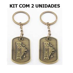 Kit Com 2 Chaveiros Fortnite Dog Tag Bronze Original