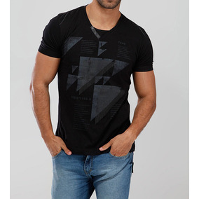 Camiseta Decote V Bgo Preta Estilo Fit 033a46930980d