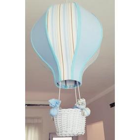 Lustre Quarto Bebê Balão Acinturado Decoração Azul Listrado