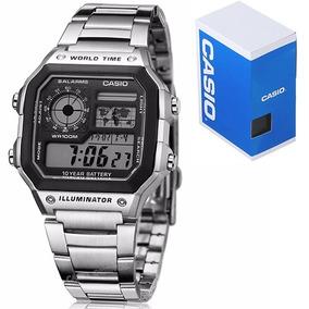 fc2bbb8e2bbf Reloj Caballero Casio Ae1200 Metal - Mapa Mundial