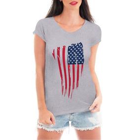 Camiseta Bandeira Eua Usa Blusa T-shirt Roupa Feminina