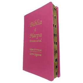 Bíblia Sagrada Letra Gigante Pink Com Harpa Cristã Promessas