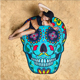 Tapete Toalla Playa Calavera Muertos Azul Mexicana +tatoo
