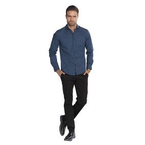 Camisas Hombre Casuales Azul Marino Estampadas Slim B85310