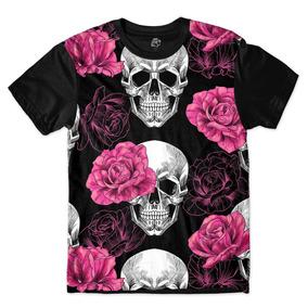 Camisa Camiseta Blusa Caveira Rosas Rock Flores Skull d99dc4ec02ebe