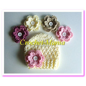 Gorros Tejidos A Crochet Con 5 Flores Intercambiables Niñas 408aa6abe39