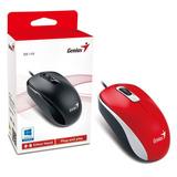 Mouse Optico Alambrico Genius Dx110 Usb Rojo