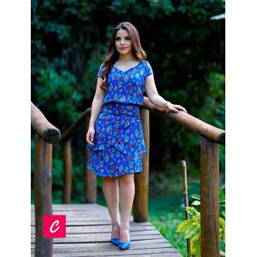 Vestido Feminino Evangélico - Azul Florido
