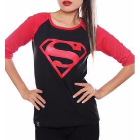 Playera Mujer Superman Black Con Envio Gratis