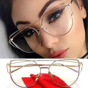 Armação Óculos Metal Gatinho Cat Eye Geométrica Oversized 46d3a36bed
