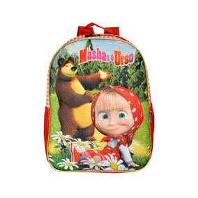 Mochila Costas Infantil Masha E O Urso Vermelha