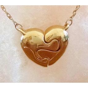 Collar Corazón Rompecabezas Con Cadena Delgada 41cm Oro 14k