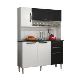 Armário De Cozinha 5 Portas 2 Gavetas Nápoles Branco/preto S