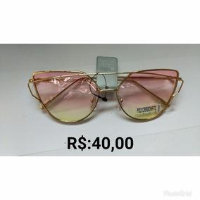 Óculos Espelhado Feminino Olho De Gato Gatinho Metal Redondo b2ec6f861a