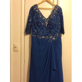 Vestido Novo P/mae Noiva Azul /bordado Prata 46/48- 480,00