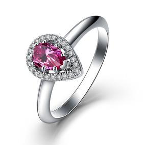 b8fc2351745e Anillo Promesa Turmalina Rosa Ak Jewelry Plata Baño Oro 18k