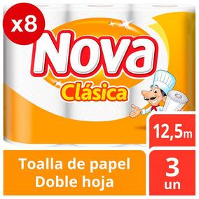 Toalla Nova Clásica Pack X8 24 Unidades 12,5m