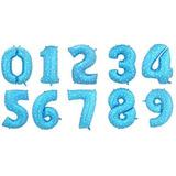 Three - Blue - Los E.e.u.u. 40 Hoja Número Globos Gran-3577