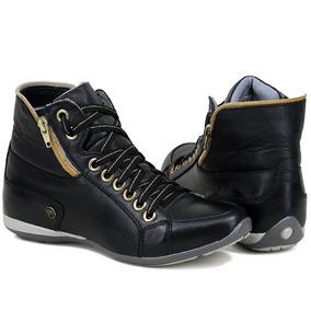 4ba2535cb Bota Sneakers 100% Couro Feminino Tênis Cano Alto Casual