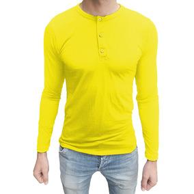 03 Camisetas Masculina Henley Básica Slim Fit Viscolycra Ml b8a1c31d72b20