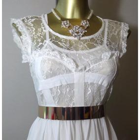 Vestido Encaje Y Gasa Con Cinturon Metal Dorado.envio Gratis