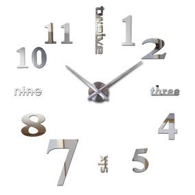 Reloj Minimalista De Pared 3d Gigante Diy Plateado
