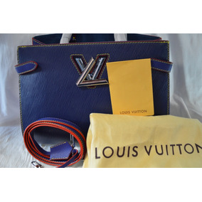Louis Vuitton Montaigne Tote Twist Azul Con Rojo