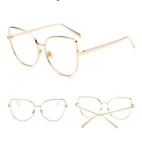3d656ce19a843 Oculos Gatinho Cat Eye Dourado Armacoes - Óculos no Mercado Livre Brasil