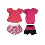 5b61603204 Kit Com 2 Conjuntos De Menina Recém Nascido Roupas De Bebe