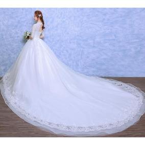 Vestido De Noiva Princesa Evangélica Rendado Manga Cauda 38