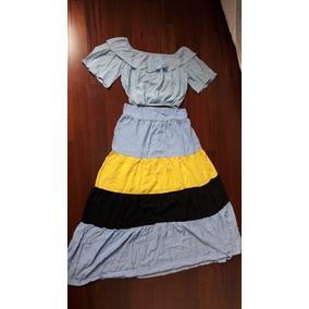 Conjunto Cropped Ciganinha + Saia Longa Moda Boutique Lindo