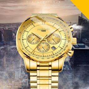 Relógio Masculino Nibosi Dourado Modelo Ni2357