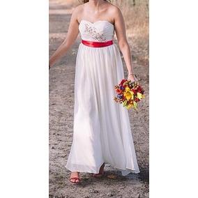 Vestido de novia blanco con rojo