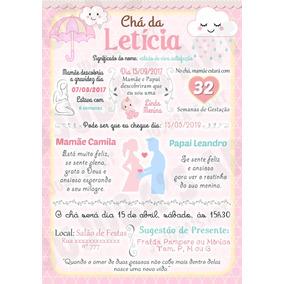 Convites Cha De Bebe Rosa E Marrom Convites No Mercado Livre Brasil